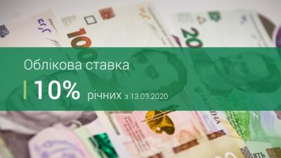 ОБЛІКОВА СТАВКА НБУ – 10%